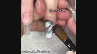 آموزش طراحی ناخن به طرح سنگ مرمر _ آکادمی ناخن شیما شریف