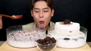 ~!! Milk With Choco Cake Whipped Cream Cake MuKBang~!!