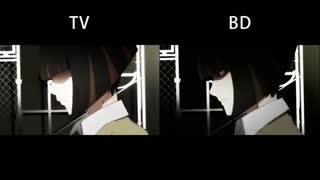 مقایسه مبارزه آراراگی Araragi در برابر Kagenui از انیمه Nisemonogatari در نسخههای بلوری Blu-ray و تلویزیون TV