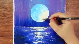 آموزش گام به گام نقاشی روی بوم منظره ی شب و ماه