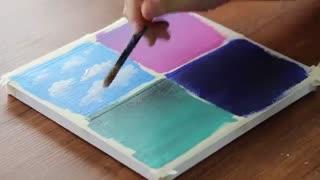 نقاشی ابرای پف پفی رنگارنگ ♡~♡