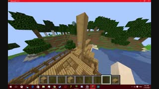 سه ساعته دارم این کشتی رو میسازم تو بازی Minecraft  توضیحات.