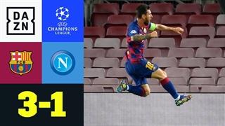 خلاصه بازی بارسلونا 3 - ناپولی 1 از مرحله یک هشتم نهایی لیگ قهرمانان اروپا